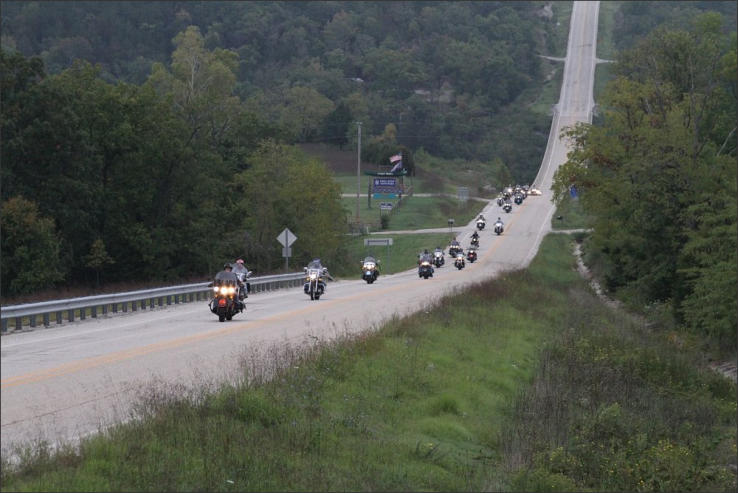 Motorcycles on an Arkansas highway